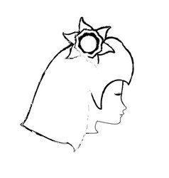 sketch head woman flower icon vector image