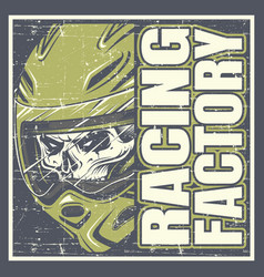 skull wearing helmet and text racing factory hand vector image