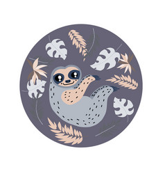 sloth circle composition vector image