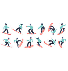 snowboard character young male snowboarder jump vector image