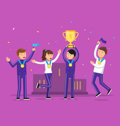 sport winners celebrating their victory happiness vector image