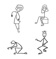 stick figures vector image