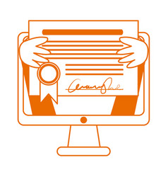 student with diploma in computer home education vector image