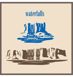 Stylized waterfalls vector