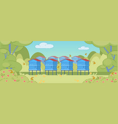 Summer rural landscape background with apiary vector