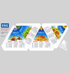 Template english calendar 2017 by seasons pyramid vector
