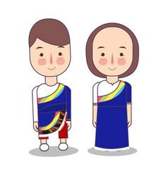 Tibet wedding couple cute tibetan traditional vector
