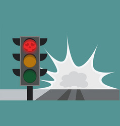 Traffic light on the road running a red light vector