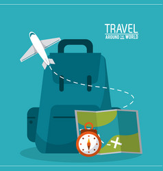 travel around the world backpack time map plane vector image