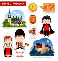 Travel to romania romanians in national clothes vector