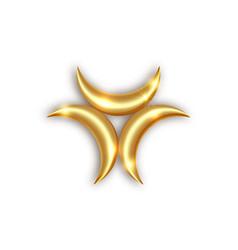 Triple golden goddess mystical moon phases logo vector