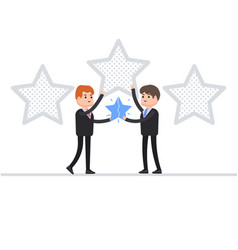 two businessman holding a star a favorite in vector image