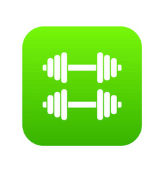 two dumbbells icon digital green vector image