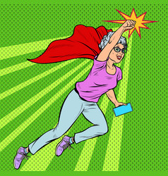 woman grandmother superhero flying active strong vector image