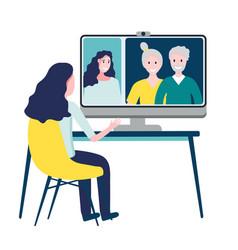 woman having online meeting with parents or eldery vector image
