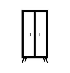Wooden wardrobe furniture home decoration icon vector