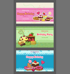 birthday party horizontal invitation postcards vector image