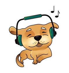 cute dog in headphones vector image vector image