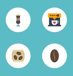 flat icons arabica bean mocha coffeemaker and vector image vector image