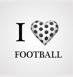 i love football font type with heart sign vector image vector image