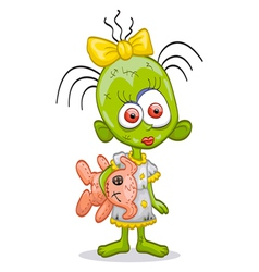 little zombie girl vector image vector image