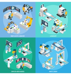 Robotic surgery isometric 2x2 design concept vector