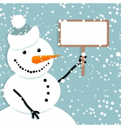 snowman Christmas card vector image vector image
