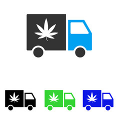 cannabis delivery van flat icon vector image