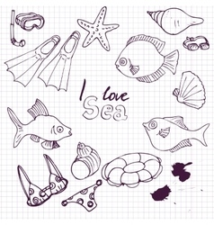 sea set of sketch vector image vector image