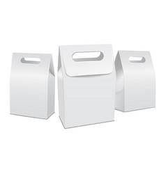 Set of white 3d model cardboard take away food box vector
