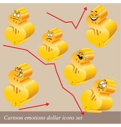 emotions dollar icon set vector image vector image