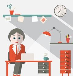 Secretary in Office Flat Design vector image