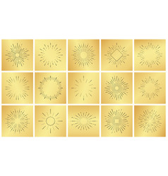 Vintage sun burst ray set on golden luxury metal vector