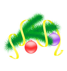 christmas branch with balls vector image vector image