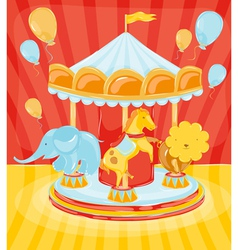 Circus carousel with animals vector image