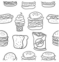 hand draw of food various doodles vector image