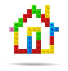 House from plastic toy blocks vector image