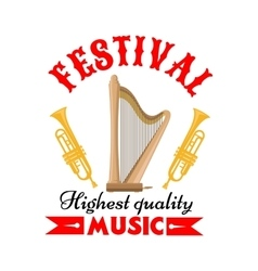 Music festival sign with harp and trumpet vector