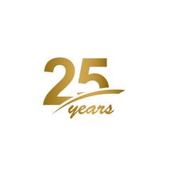 25 years anniversary elegant gold line vector