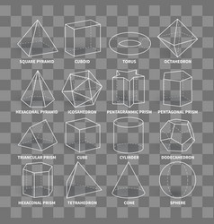 3d math geometric outline shapes isolated vector