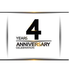 4 years anniversary black color simple design vector