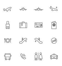 airport icon sets line icons vector image