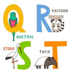 Animal alphabet q r s and t vector