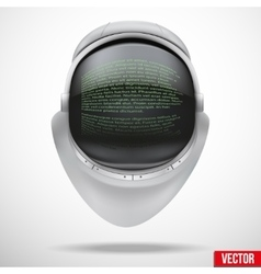 Astronaut helmet with digital text on reflection vector image