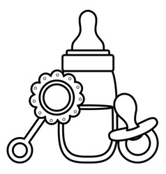 Babottle milk with accessories icons vector