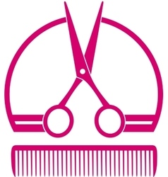 Barbershop icon with scissors and comb vector