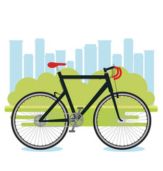 bicycle vehicle with cityscape background vector image