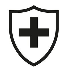 Black and white shield with medical cross vector