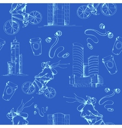 Blueprint city seamless pattern vector image