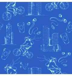 Blueprint city seamless pattern vector